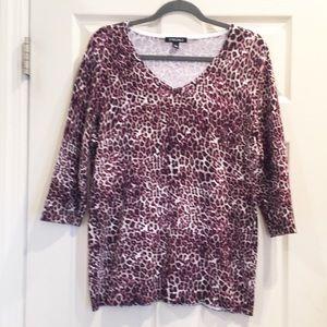 5/$25🔅Roz & Ali Purple/Tan Leopard Print Sweater